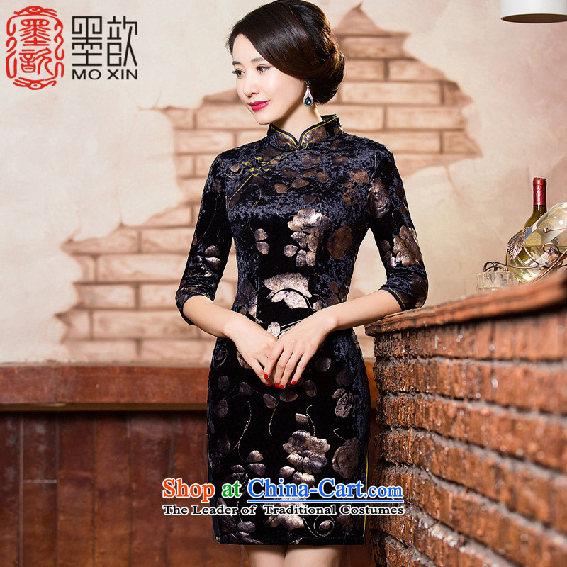 The Dream of the�2015 retro ? scouring pads in the autumn of qipao older mother load improved cheongsam dress gold stamp cheongsam dress�QD302�black�L