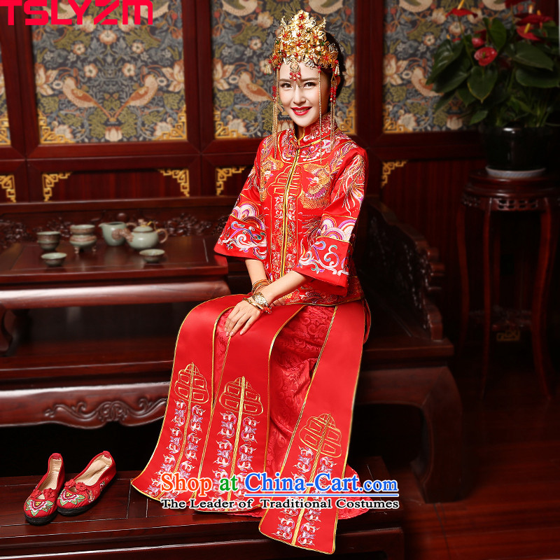 The bride-soo Wo Service tslyzm wedding longfeng use qipao autumn and winter 2015 New Chinese wedding dress wedding dress retro long-sleeved red?L