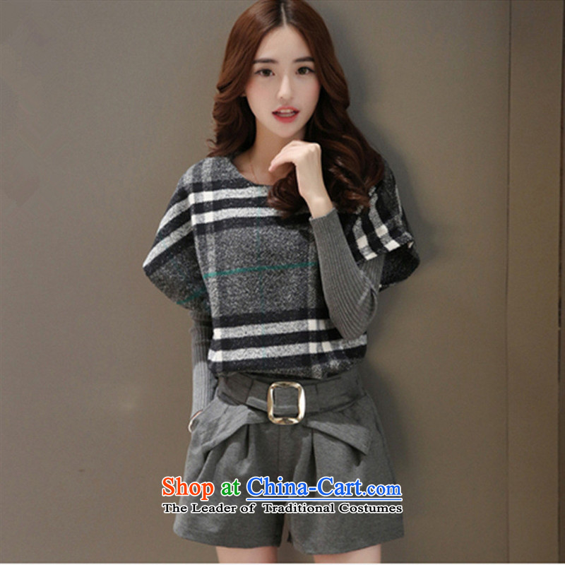 Hong new Korean apples _2015 Edition Fall_Winter Collections latticed streaks female 3-piece set long-sleeved shirt? a gross Jacket Color Picture shorts?XL