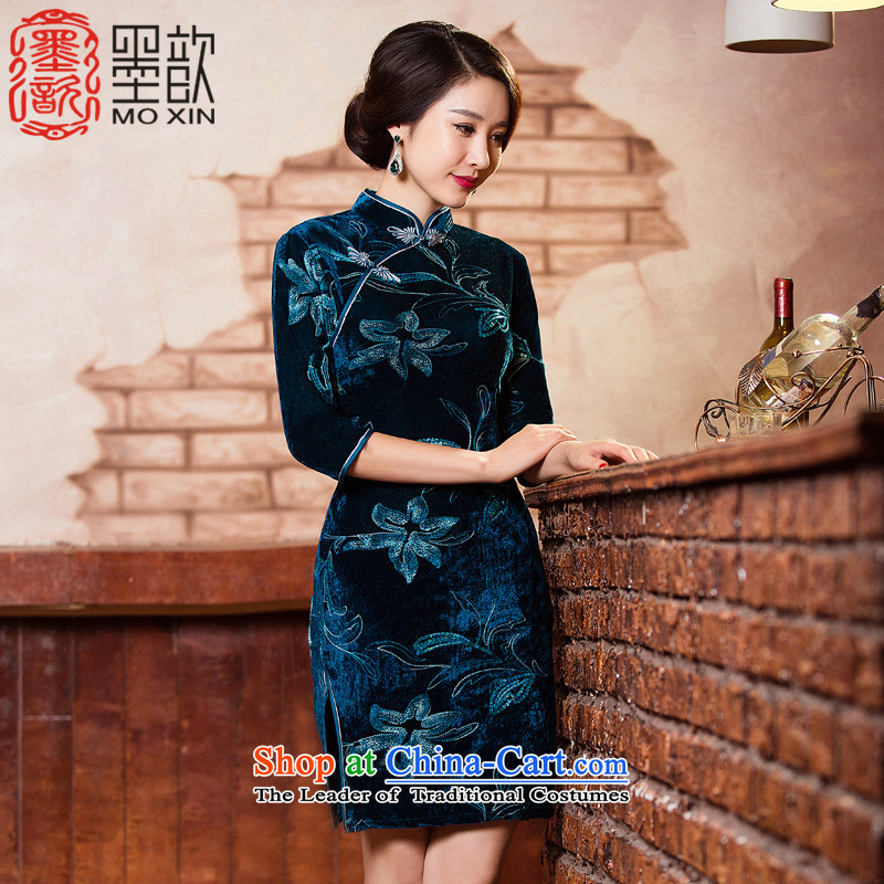 The Dutch blue�2015 on ? chip in the autumn of qipao scouring pads older MOM pack improved cheongsam dress cheongsam dress Chinese�Q303-5 Ms.�blue-green�M