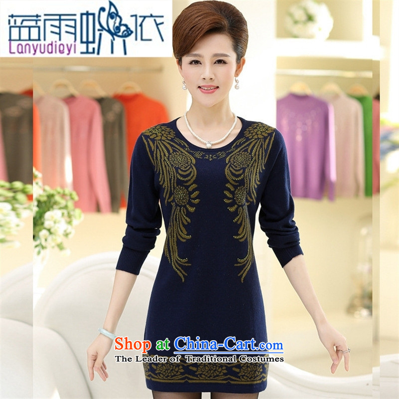 September Girl Store _ New knitting sweater middle-aged moms load forming the medium to long term, sweater stamp Sau San round-neck collar dresses Navy Blue?110