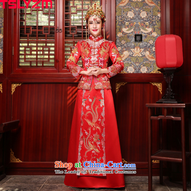 The bride-soo Wo Service tslyzm married to the dragon use 2015 new autumn and winter retro embroidery collar dragon cheongsam dress use red?S