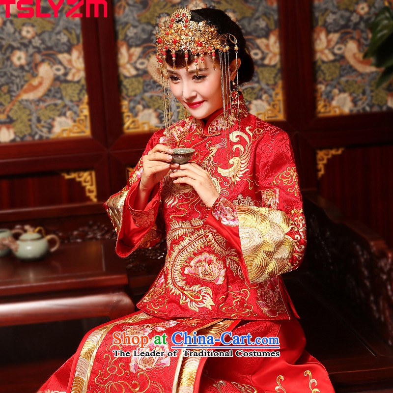 Use the dragon bride tslyzm married Su Wo Service Chinese style wedding wedding dresses wedding gown Ancient Costume 2015 new autumn and winter red�XL