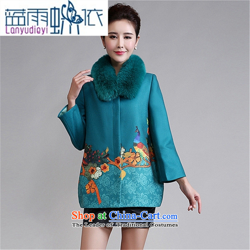 September Girl Store is women's * stylish long-sleeved jacket stamp large warm in the mother of older a wool coat blue?XL