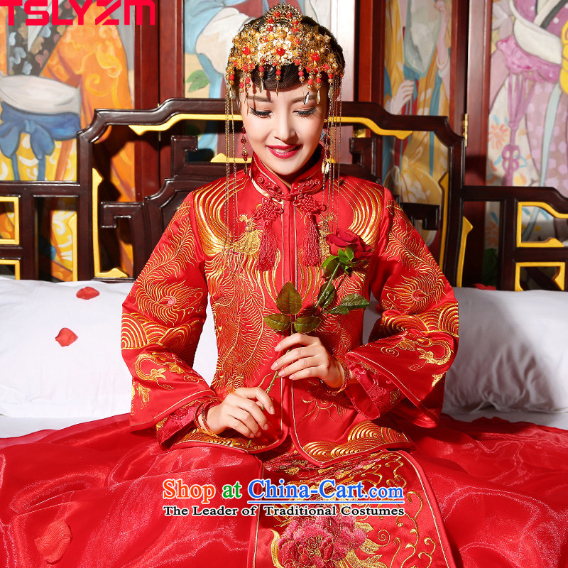 Use the dragon wedding tslyzm Sau Wo Service bridal dresses Dragon 2015 Marriage new autumn and winter Chinese wedding-soo kimono red�XL