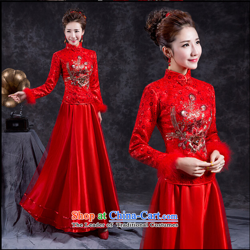 Stylish improved winter clothing bride red retro bows Chinese cheongsam dress long marriage long-sleeved gown RED燤 _