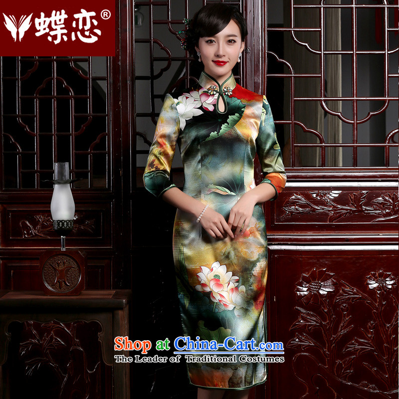 Butterfly Lovers 2015 Autumn New) retro long silk cheongsam dress stylish improved 7 cuff qipao Pik - I should be grateful if you would have the pre-sale of 7 days?L
