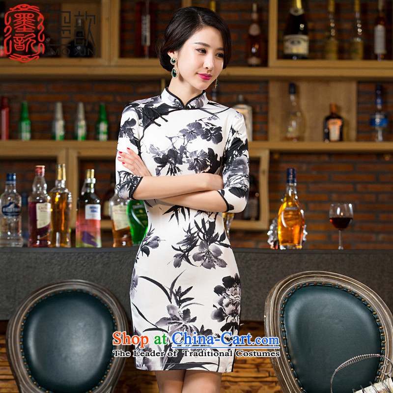 The gel bamboo?2015 retro � ink painting qipao autumn new stylish 7 Ms. cuff improved cheongsam dress cheongsam dress?M11041?picture color?S