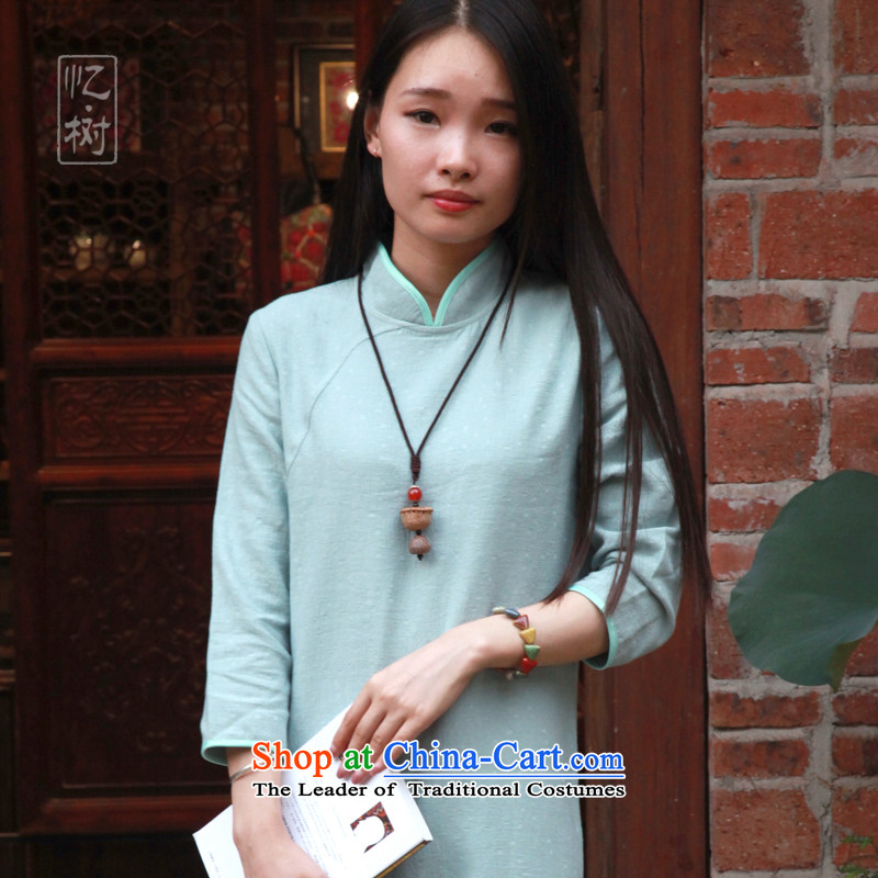 Recalling that the 2015 New Tree Fall_Winter Collections of linen cotton linen dress retro Sau San long stylish improved cheongsam dress light green?M