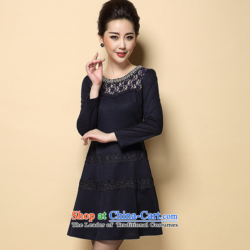 Optimize fruit shop in Europe bell dresses in the autumn of women older load new large load on the elderly mother dark blue聽XL, Ms Audrey EU, Xin (WEIYUXIN) , , , shopping on the Internet