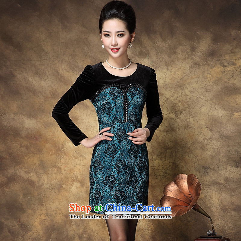 Optimize fruit shop middle-aged female load bell with stylish mother load autumn dresses blue聽XL