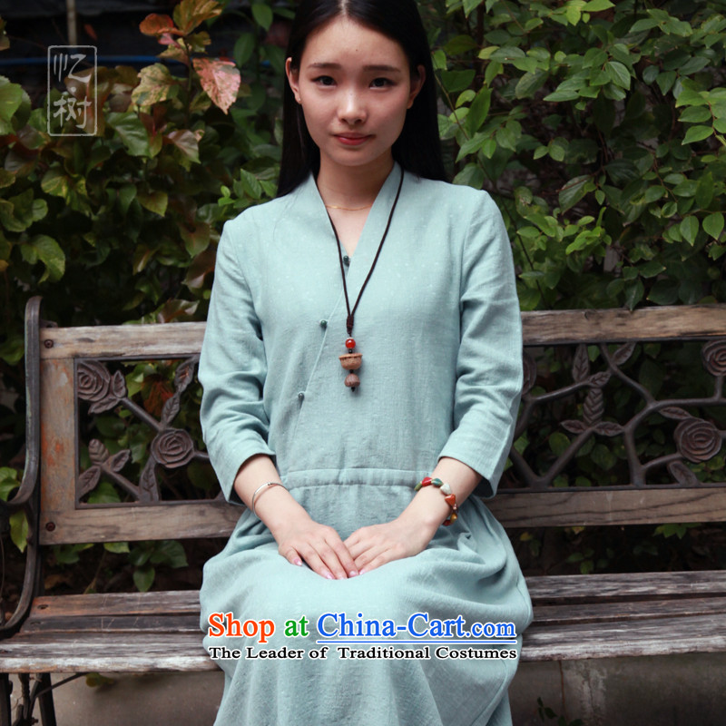 Recalling that the 2015 New Tree Fall_Winter Collections cotton linen flax women of loose elastic stylish improved qipao Sau San green?XL