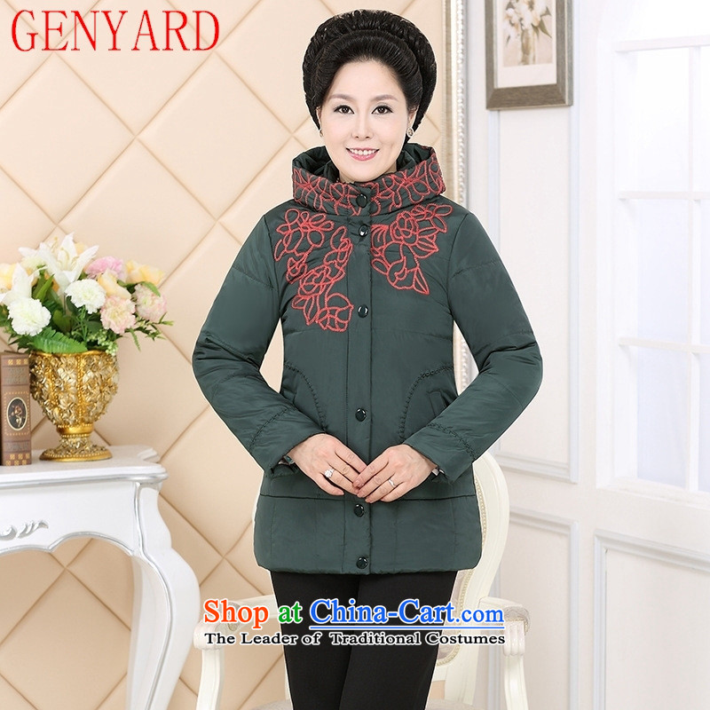 The elderly in the countrysides short GENYARD_ 2015 winter larger women's mother replacing robe stylish Sau San feather cotton coat green燲XL