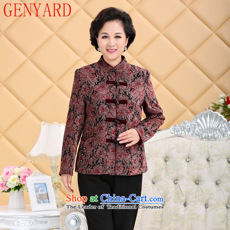 Genyard2015 winter clothing in the new stamp thick cotton older MOM pack thick coat with thick red T-shirt grandma聽4XL