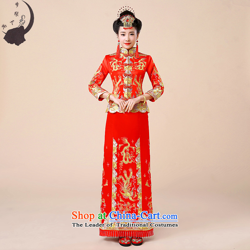 Use the dragon skirt bridal dresses marriage bows services wedding gown Chinese qipao retro fitted long wedding services 8713 Red Sau Wo燤燾hest around 90cm