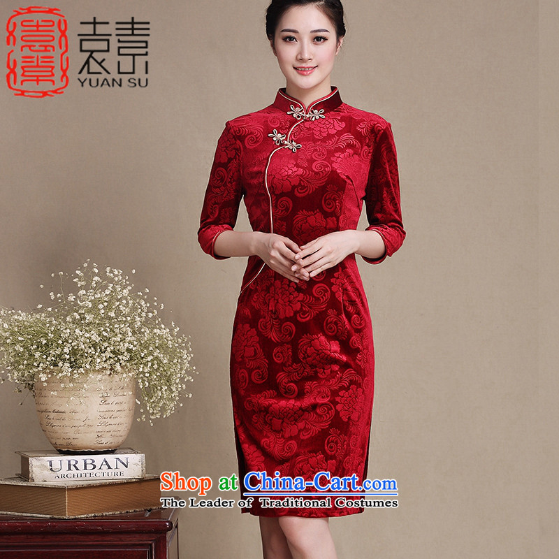 Mr Yuen Wah�15 Kim Chong of mother boxed qipao autumn scouring pads installed in temperament and Stylish retro older cheongsam dress new improved cheongsam dress燲XXL 3197 Red