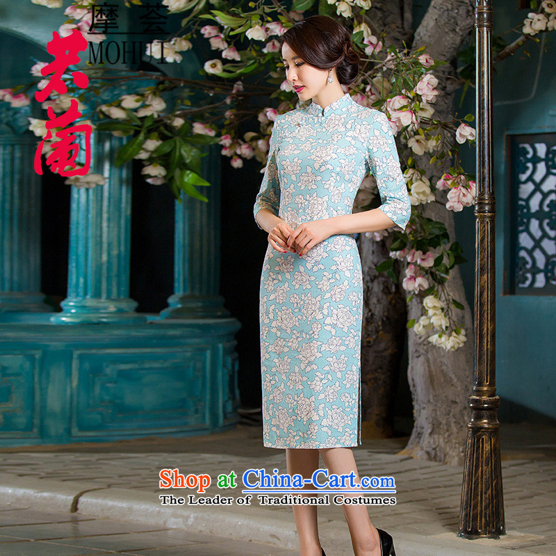 American Samoa Aloe Vera?2015 autumn and winter new retro in thin cuff Sau San video larger improved linen long skirt qipao JORIN?XXL
