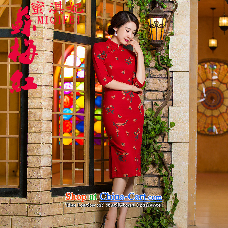 Honey Qi princess of燼utumn and winter 2015 new retro in thin cuff Sau San video larger improved linen long skirt qipao Samui red燲L