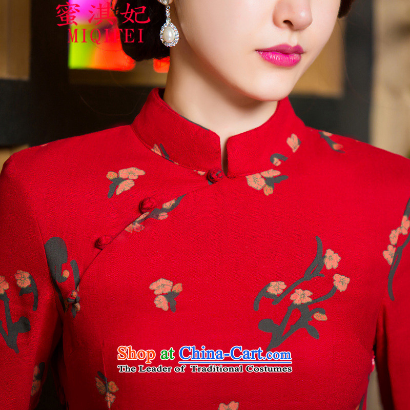 Honey Qi princess of聽autumn and winter 2015 new retro in thin cuff Sau San video larger improved linen long skirt qipao Samui red聽XL, honey Qi Princess MIQIFEI) , , , shopping on the Internet