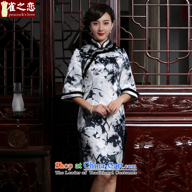 Love birds such as Xuan�15 winter clothing new retro Silk Cheongsam cotton waffle cheongsam dress folder燪C959燽lack and white floral燬