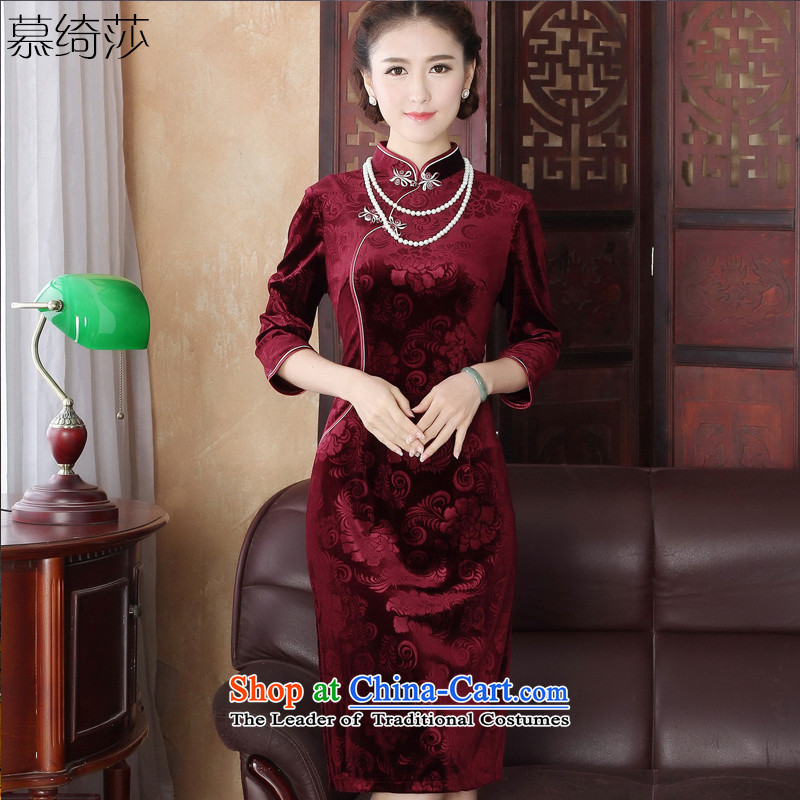 The cross-sa�2015 gold velour robes of oneself with retro improved qipao autumn skirt the new mother in older cheongsam dress�Y3197�deep red�2XL