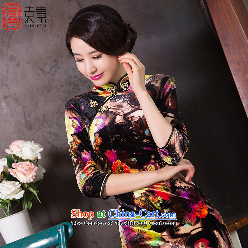 Yuan of toner Mui�15 Fall_Winter Collections of nostalgia for the establishment of a new qipao velvet improved cheongsam dress female 7燾olor photo QD262 cuff qipao燣 code