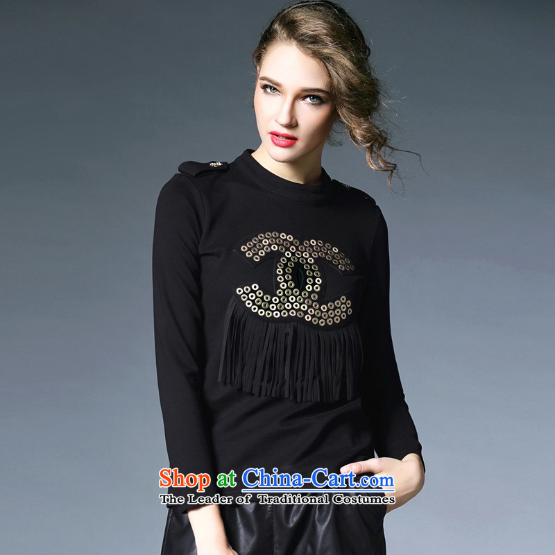 Hami 2015 autumn and winter female new PURE COLOR METAL round hole on the flow of long-sleeved su long-sleeved autumn and winter, forming the 1126 Black?M