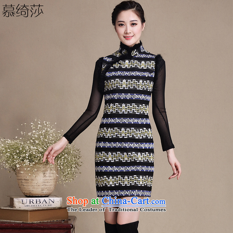 The deterioration of cross-sa Timorese gross retro style qipao?   improved cheongsam dress sleeveless wool? autumn and winter skirt�Y5137 qipao Ms.�picture color�2XL