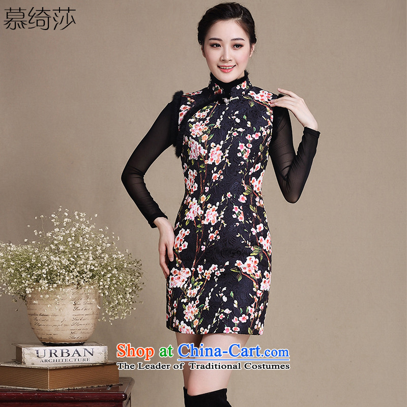 The Windsor ? Mei Yee-thick cotton qipao autumn and winter folder sleeveless short of the amount for the cheongsam dress cheongsam dress�Y5138 Ms. sepia�pictures color�XL