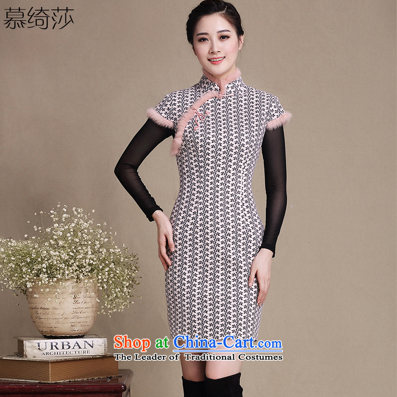 The cross-sa nickname Yuen daily gross? New wool is qipao package shoulder Sau San cheongsam dress Ms. Winter cheongsam dress?Y5139?picture color?2XL