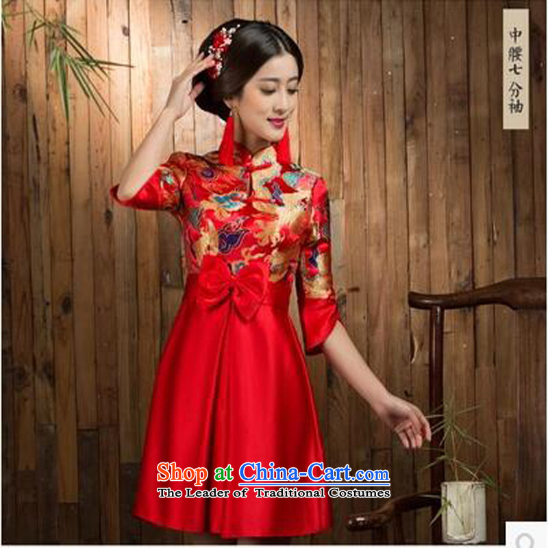 The following new paragraph on the summer and fall of 2015, the bride cheongsam dress bows services improved large stylish wedding dresses short dragon in the use of 7 short-sleeved waist_燬
