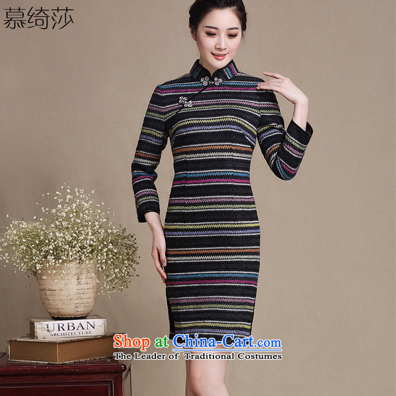 The cheer windsor castle kiosk long-sleeved gross new wool qipao?? Palace wind cheongsam dress Ms. improved long-sleeved autumn and winter cheongsam dress?Y5150?picture color?2XL