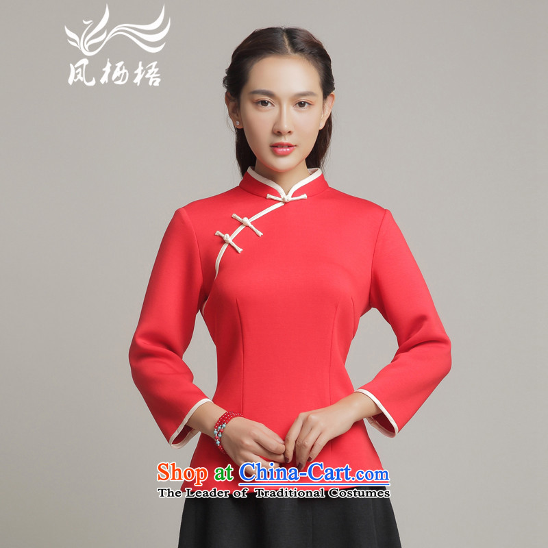 Bong-long-sleeved Chinese qipao migratory 7475 Sau San Stylish retro T-shirt elegant autumn 2015 replacing Tang dynasty blouses DQ15269 RED S