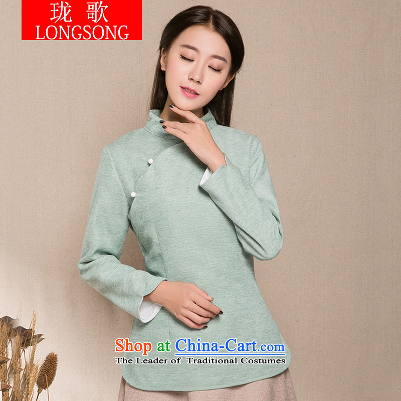 Lum songs of ethnic gross? t-shirt short qipao autumn and winter, Retro improved Han-tang stapled bead Sau San Mock-neck Chinese women aware of elegant L3404 light blue?M