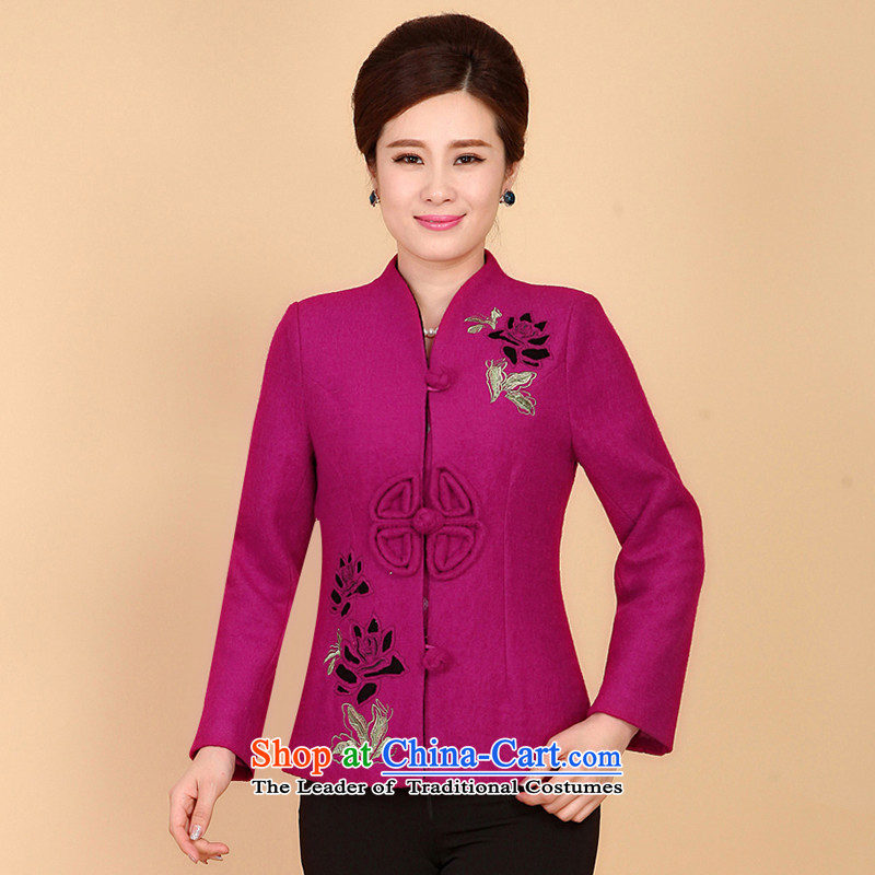 The Cave of the elderly ex-gratia middle-aged Sau San thick hair? Tang jackets female autumn and winter embroidery stylish MOM Pack 2016 better red燲L