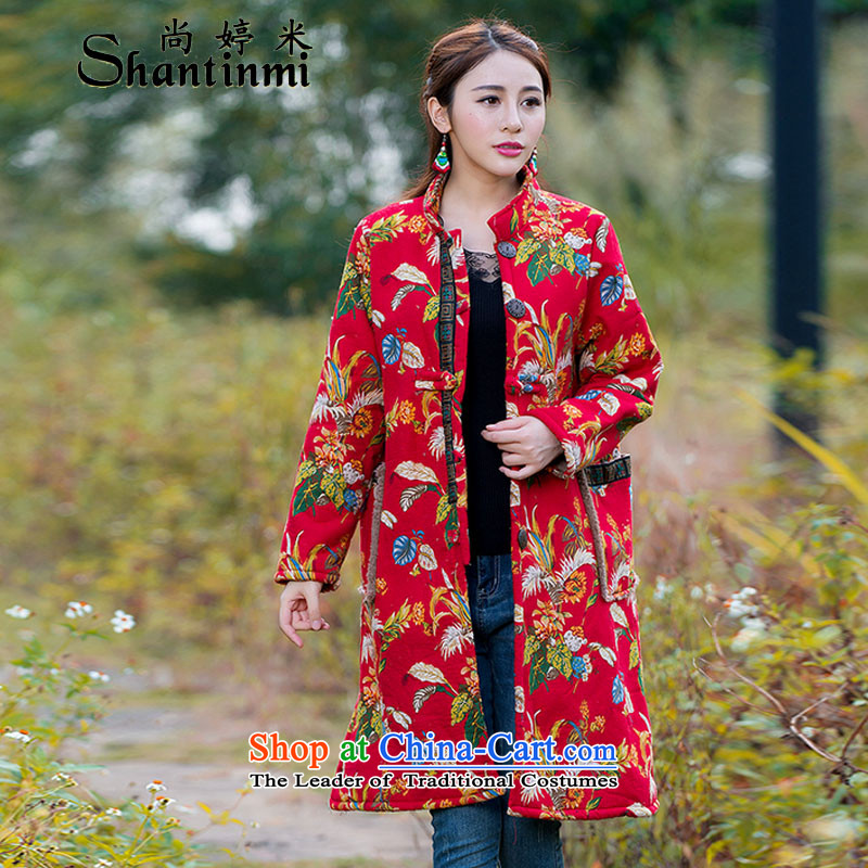 Yet Ting M 2015 ethnic stamp disc loose tie larger cotton linen and warm wind-thick wool jacket F019 are Code Red