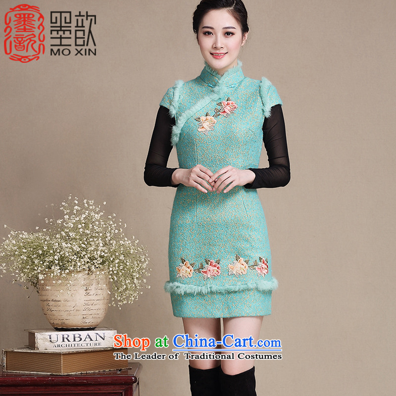 The 2015 autumn ? deplores the snow winter clothing qipao thick hair gross? For Stylish retro improved embroidery qipao cheongsam dress Warm Y3196 thick green L