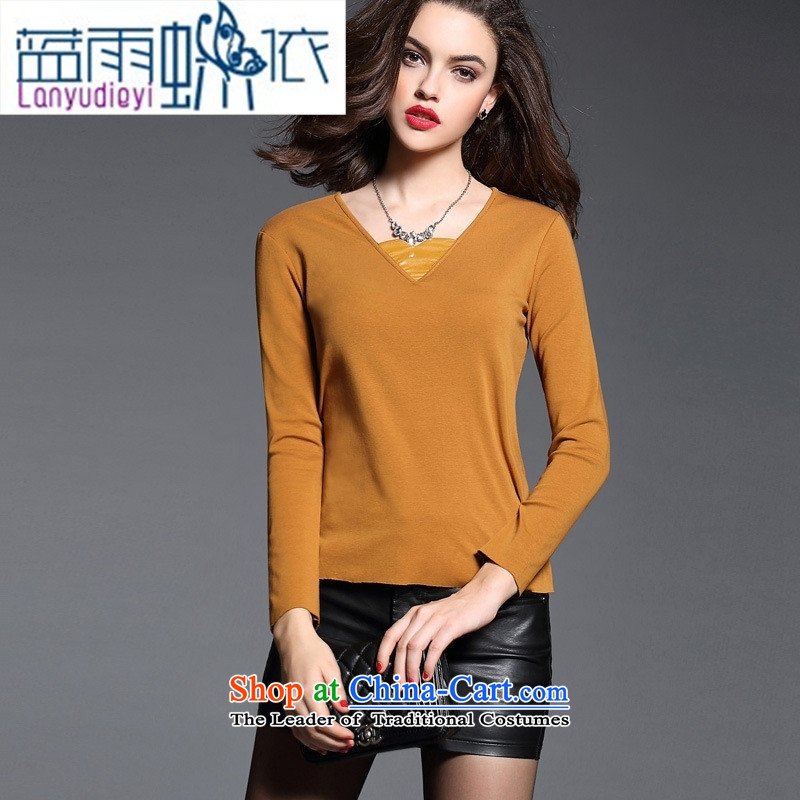 Ya-ting shop European site female pure cotton, her forming the spell checker shirt wild long-sleeved T-shirt, forming the yi 2666 4289燤