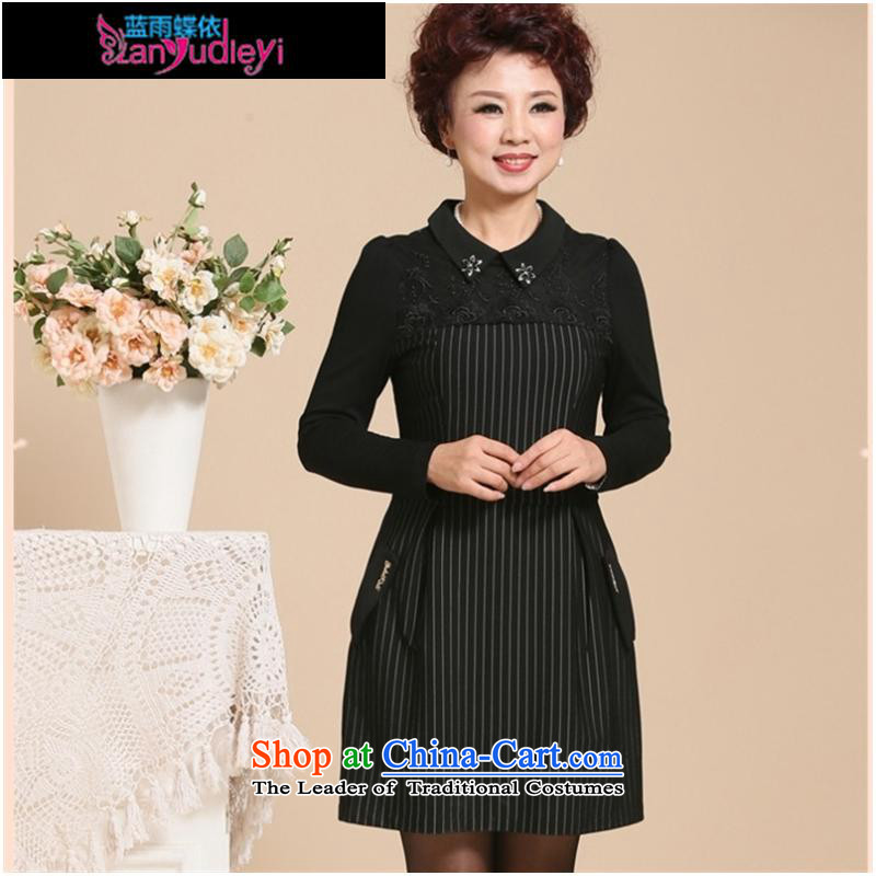 September Girl Store _2015 new moms with autumn graphics in long-sleeved thin large older women in lace long middle-aged black skirt?XXL suitable for 100-108