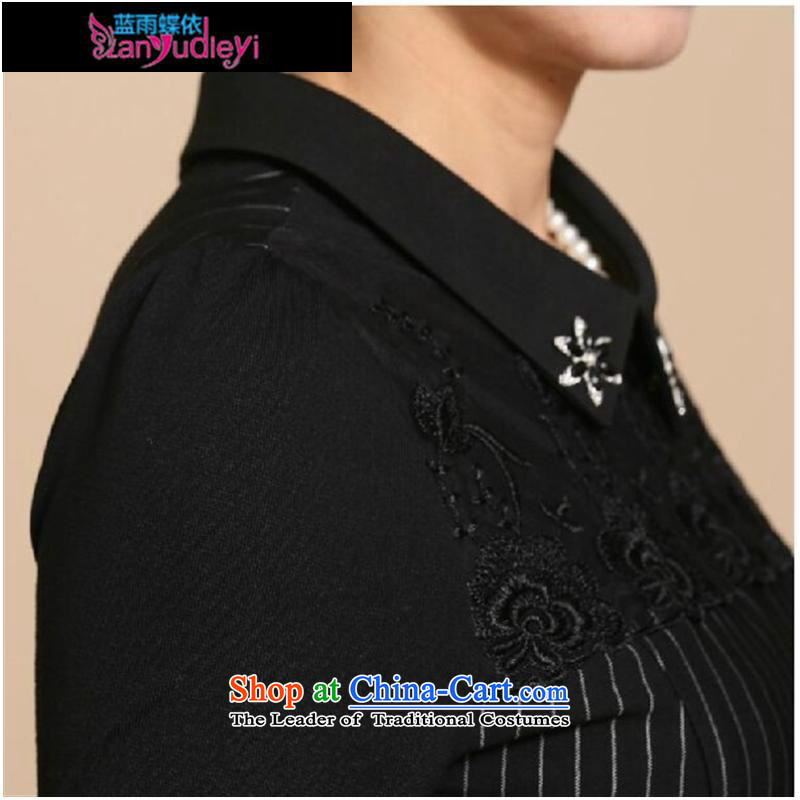 September Girl Store *2015 new moms with autumn graphics in long-sleeved thin large older women in lace long middle-aged black skirt聽XXL 100-108, suitable for blue rain butterfly according to , , , shopping on the Internet