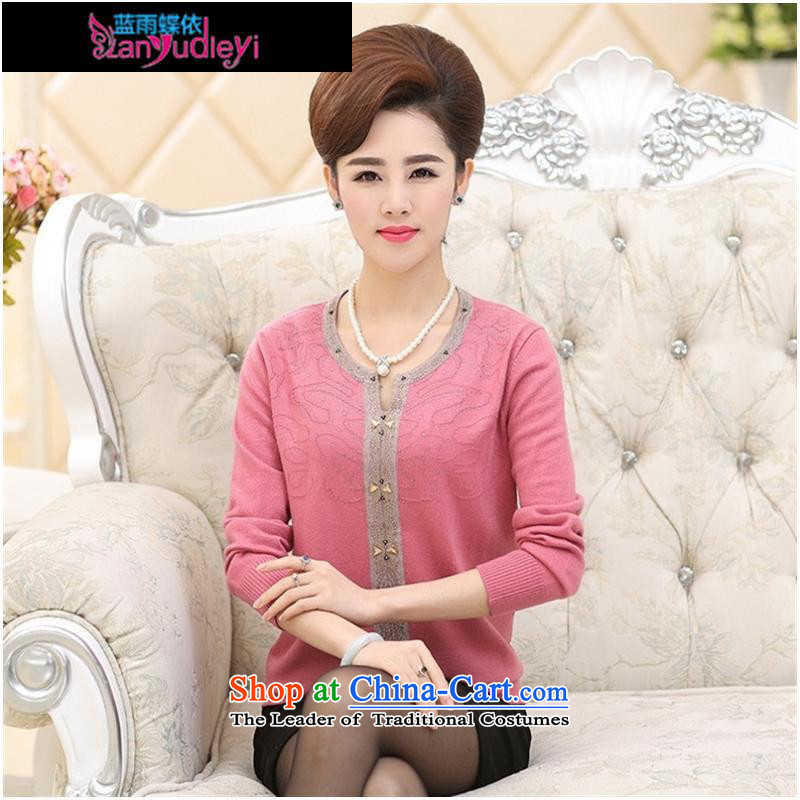 September female boutiques in new elderly _2015 women fall inside a long-sleeved Knitted Shirt middle-aged moms with large round-neck collar Woolen Sweater Knit pink聽115