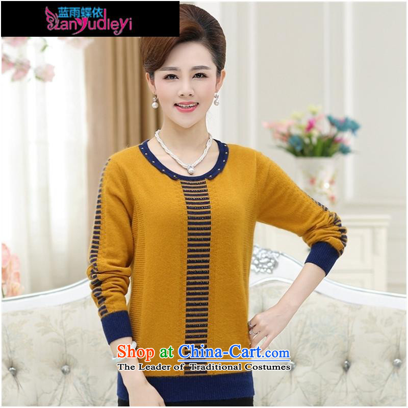 September female boutiques in older women's _ Relaxd large long-sleeved middle-aged women Knitted Shirt with load autumn tiao mother fleece clothing聽XXXL yellow Knitted Shirt