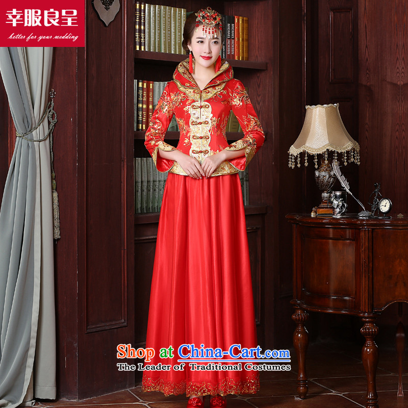 The bride with a drink service red autumn 2015 new cheongsam dress Chinese wedding dress improved large stylish wedding dress 9 sleeve length dress + model with 68 Head Ornaments?L
