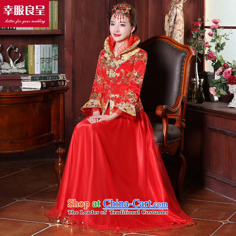 The bride wedding dress 2015 Sau Wo Service new services red Chinese qipao bows dress long ancient wedding dress for long winter dress + model with 68 head-dress - pre-sale of new products�day shipping燤