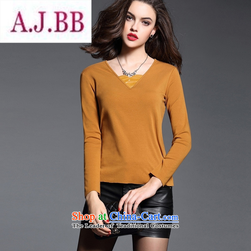 Ms Rebecca Pun stylish shops European site female pure cotton, her forming the spell checker shirt wild long-sleeved T-shirt, forming the yi Yellow燤