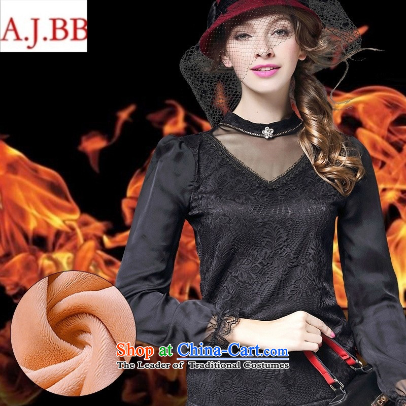 Orange Tysan * European winter 2015 site new European and American women plus lint-free long-sleeved thick Sau San warm soft solid black shirt?S