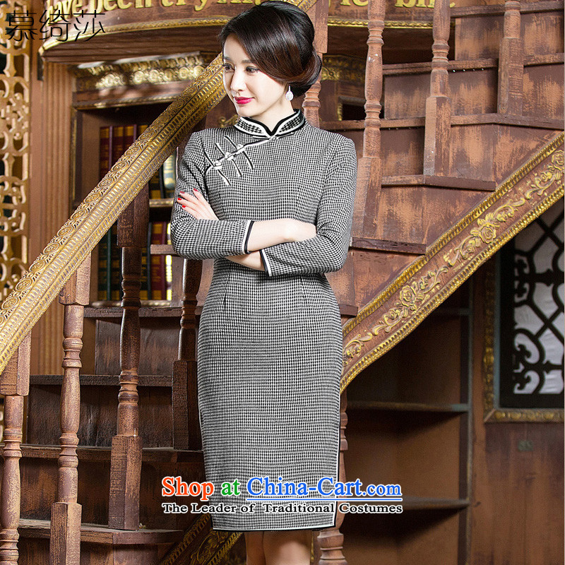 The cross-SA-ban of qipao?     daily gross long-sleeved cheongsam dress, autumn and winter chidori grid cheongsam dress�Q 307�picture color�2XL