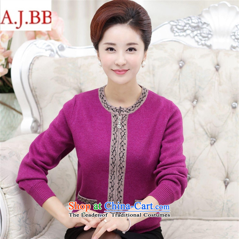 Orange Tysan - female knitted woolen cardigan winter new products in large thick older women wear old zipper rose 115 XL