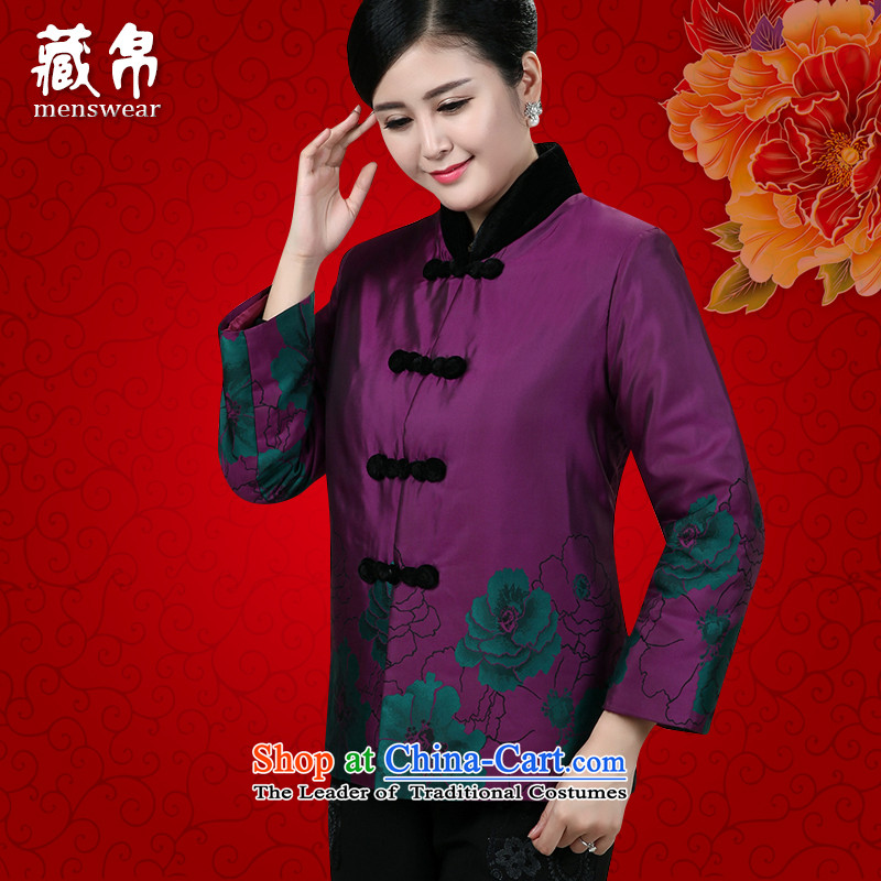 Tang dynasty women caught up Tibet China wind Chinese banquet dress in her grandmother mother grandma older national costumes purple燲XXL 0891