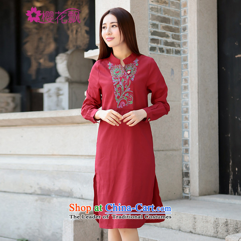 Cherry blossoms drift 2015 autumn and winter decorated new women's body cotton linen v-neck embroidered dress improved qipao female red L
